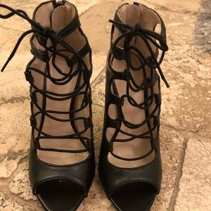 Zara black strap heels
